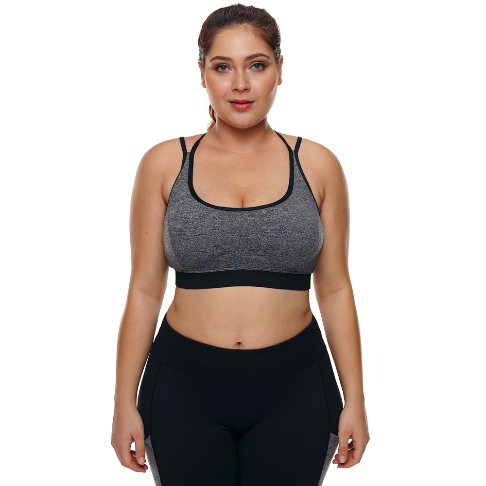 Sports Bra Plus Size Top for Fitness Big Size Female Sport Brassiere Push Up Cross Padded Running Yoga Workout Sport Bra 2018 plus size printed empire waist peplum top