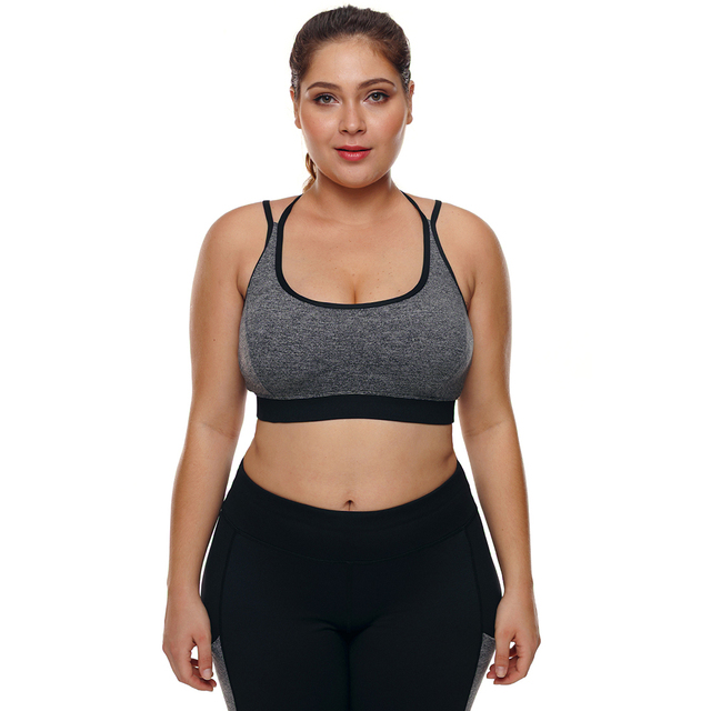 27507e7c54 Sports Bra Plus Size Top for Fitness Big Size Female Sport Brassiere Push Up  Cross Padded Running Yoga Workout Sport Bra 2018