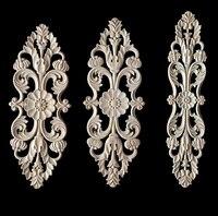 빈티지 꽃 패턴 나무 조각 된 unpainted 나무 오크 조각 된 라운드 onlay applique plaques 가구 홈 장식 큰 크기
