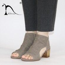 c45abfcc98d ... Women Sandals Summer Genuine Leather Heels Open Toe Women s Sandals Low  Block Heel 5.5CM Woman ...