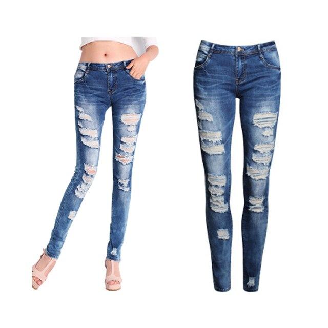 Vaqueros flacos de Las Mujeres 2017 Nuevo Estilo de Verano de Las Mujeres Jeans Agujeros Moda Pantalones Harem Denim Ripped Jeans Mujer