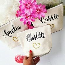 Персонализированные названия Свадебная Подружка невесты Сумочка для невесты День рождения Свадьба Макияж Косметический макияж холст сумки подарок