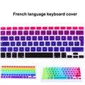 """Francés azerty diseño degradado de color de silicona teclado cubierta de la película de la piel para apple mac macbook pro 13 """"15"""" 17 """"Air 13"""""""