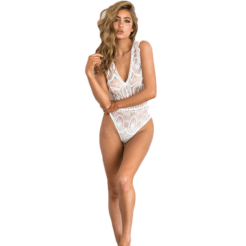 Women Sexy Lace Jumpsuits Deep V Neck Sexy Hot Sheer Lingerie Lace Sleepwear Underwear Bodysuit Playsuit Evening Jumpsuit