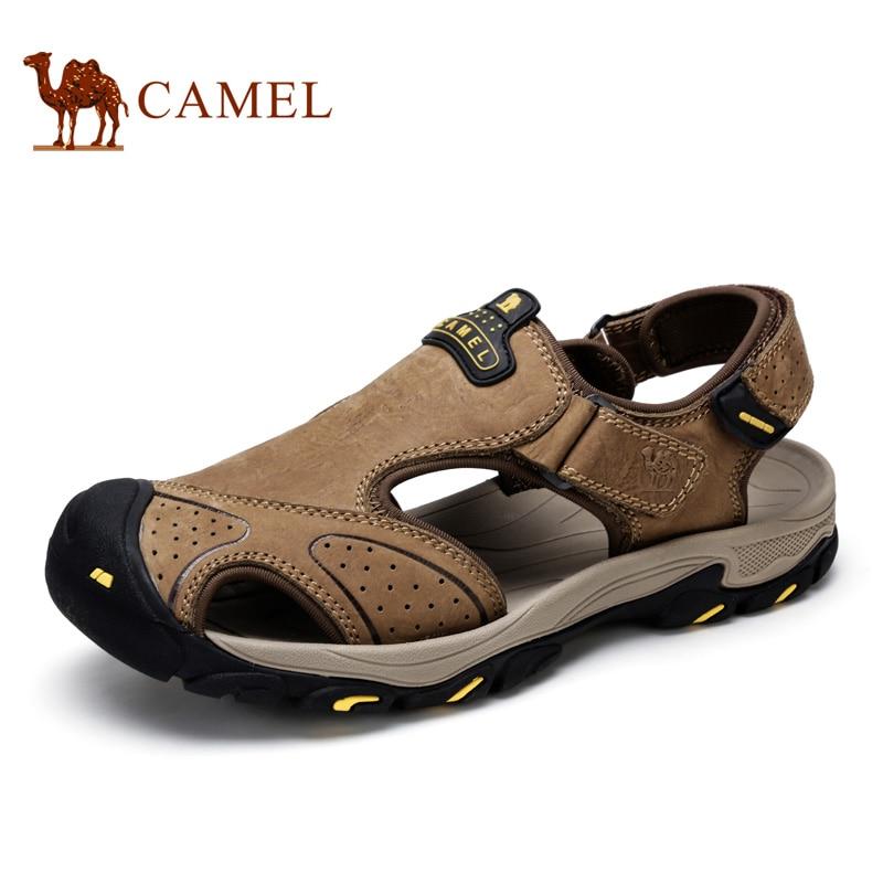 Camel Brand New Men s Beach 2016 Summer Outdoor Wear resistant Genuine Leather Handmade Fishermen Beach