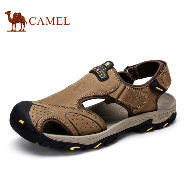 Camel Brand New Men's Beach 2016 Summer Outdoor Wear-resistant Genuine Leather Handmade Fishermen Beach Sandals