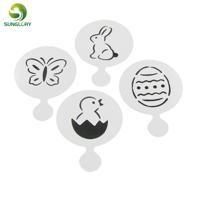 4PCS/SET Rabbit Butterfly Chick Egg Cake Stencil Fondant Cookie ...