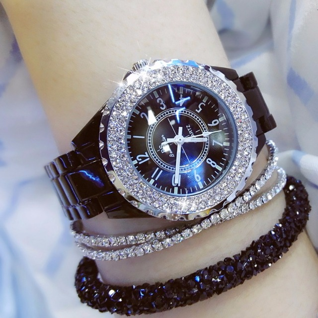 2017 New Women Watches Time Casual Luxury Diamond Quartz Watch Dial Ceramics Str