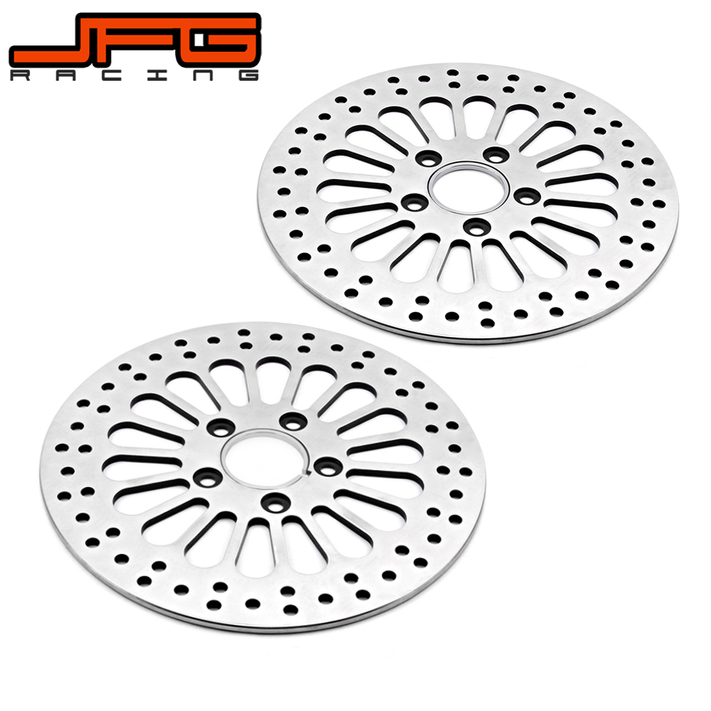 Motorcycle Street Bike Silver Front And Rear Brake Disc Rotor For Harley SOFTAIL SPORTSTER DYNA 1984-2013 TOURING 1984-2007 motorcycle front brake master cylinder cover for harley davidson touring 1996 2007 chrome black