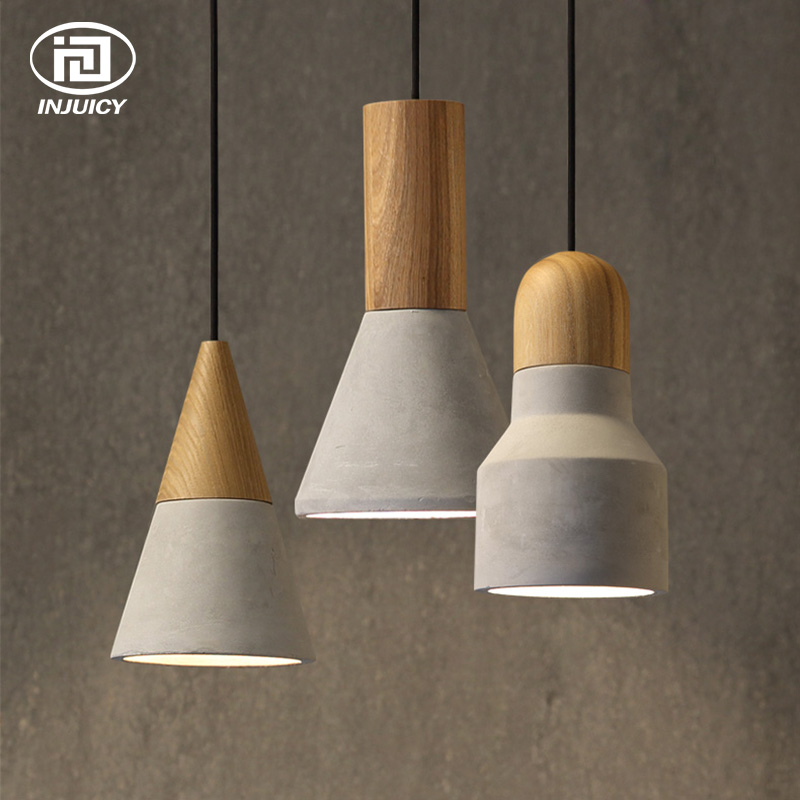 Vintage Loft Industrial Wind Cement Pendant Lamp Creative Design Single Wooden Pendant Light For Restaurant Cafe Decor Lighting eiceo nordic ancient art cement resin creative pendant lamp minimalist retro cement lampshade for indoor cafe bars decor light