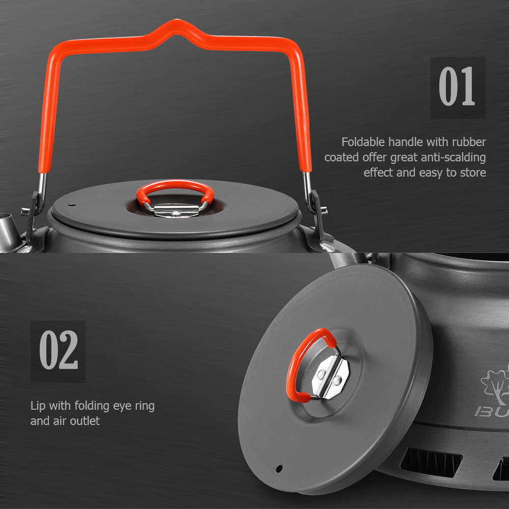 Image 5 - 1.1л портативный чайник для воды заварник для чая и кофе Крытый свистящий чайник из алюминиевого сплава Открытый Кемпинг походный чайник-in Столовые приборы для пикника from Спорт и развлечения