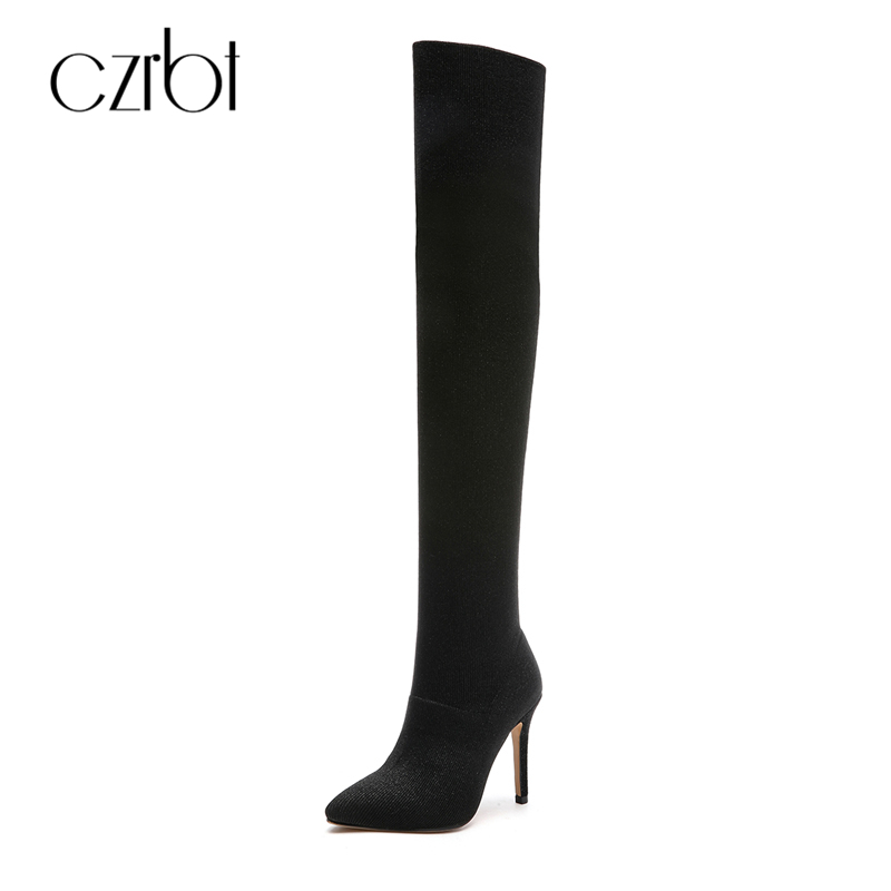 CZRBT Classic Black Stretch Boots Women Over The Knee Boots High Heels Sexy Thin Spuer Heel Thigh High Boots Winter Women Shoes
