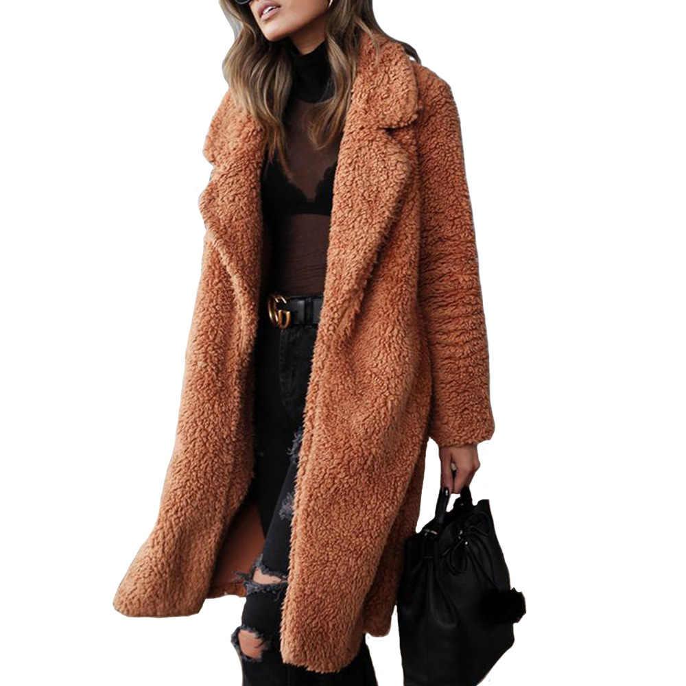 معطف دافئ 2019 الخريف/الشتاء بيع أوروبا الساخن نمط طويلة الأكمام الإناث معطف منفوش معطف طويل معطف المرأة vestidos LDM181118