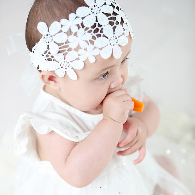 New Flower Baby Head Band Princess Elastic Kids Hair Accessories Birthday Party Infant Baby Headband Pink/White