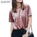 Z & KOZE 2016 Осень бархат футболка женщины свободные топы О-Образным Вырезом с коротким рукавом женский розовый футболка винтаж ти femme camisetas mujer