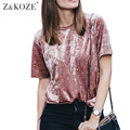 Z&KOZE 2016 Autumn velvet t shirt women loose tops O-neck short sleeve female pink tshirt vintage tee femme camisetas mujer