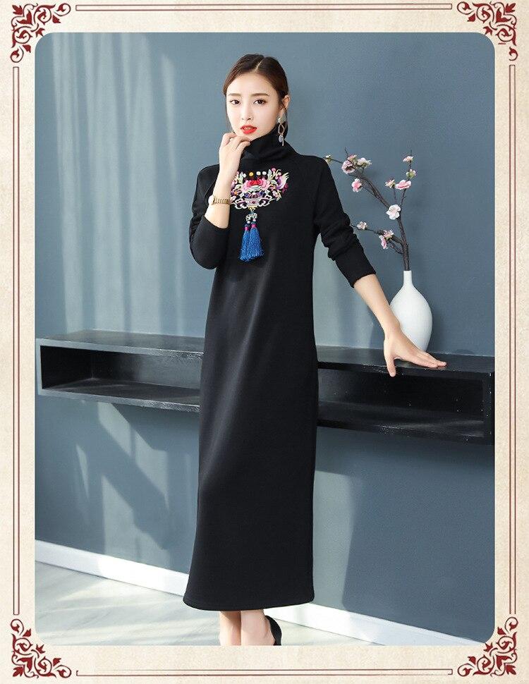 Robe 2018 À Longues Hiver Manches Tricot 2 Ethnique 1 Style Velours En Vintage Chinois Et Automne Broderie jAL45R
