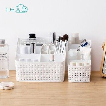 Caixa de plástico organizador de maquiagem caso cosméticos controle remoto caixa de armazenamento de desktop Do Escritório titular pequenos objetos/Recipiente do Cuidado Da Pele