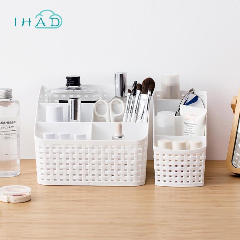 Multi-grid kunststoff box kreative desktop-kosmetikspiegel organisieren aufbewahrungsbox kosmetik fall fernbedienung halter kleine objekte Container