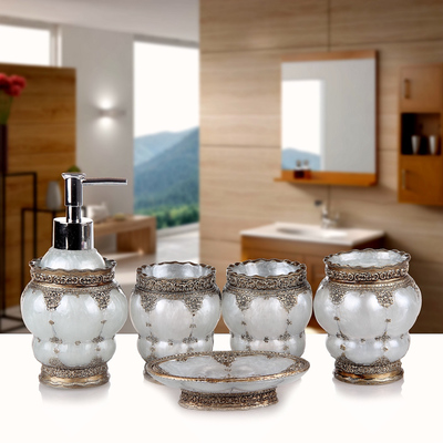 Résine salle de bains accessoires ensemble 5 pièces porte-brosse à dents Lotion distributeur savon anniversaire mariage cadeau décoration de la maison - 4
