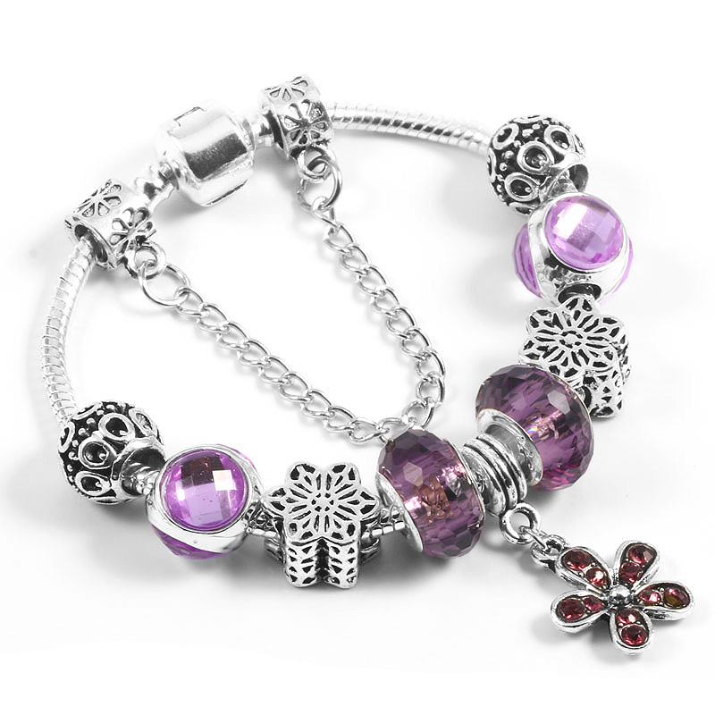 MEEKUO 2018 European Fashion Bracelet Purple Crystal Beads Charm Bracelet For Women DIY Fit Pandora Bracelet Jewelry