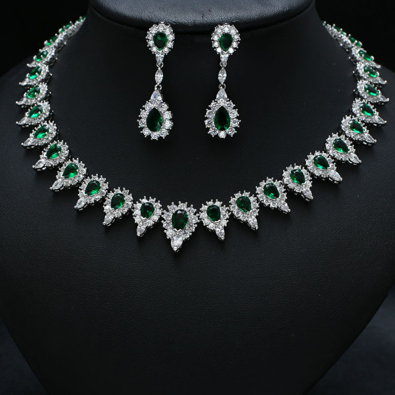 Green clor with white gold-color AAA Clear Cubic Zircon Jewelry Sets ,Earrings /Necklace,Promotion,Nickel Free, Factory priceGreen clor with white gold-color AAA Clear Cubic Zircon Jewelry Sets ,Earrings /Necklace,Promotion,Nickel Free, Factory price