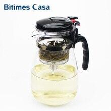 900 ML hitzebeständigem Glas Kaffee Tee-Sets Teekanne Chinesischen Kung Fu Puer Blume Tee-Set Waschbar Teekanne freies Verschiffen
