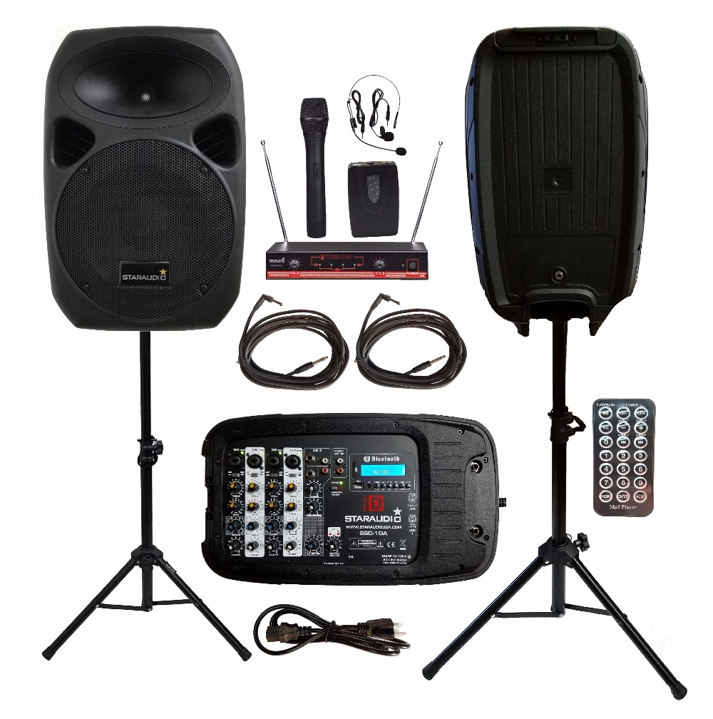 STARAUDIO 2Pcs 1500W 10PA DJ KTV Stage Passive BT SD Speakers W/2CH VHF Wireless Mics Stands Powered Mixer Cables SSD-10A