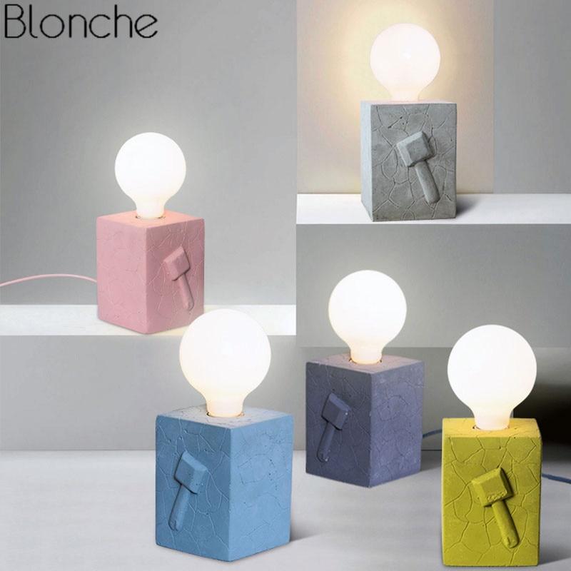 Lampe de Table Led moderne lampe de bureau créative en ciment lampe de lit pour la lecture étude décor à la maison lampe de chevet colorée E27 Luminaire Loft