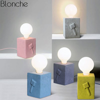 Modern Led Table Lamp Creative Cement Desk Light Bed Lamp For Reading Study Home Decor Colorful Bedside Lamp E27 Loft Luminaire