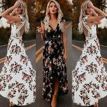 ZOGAA Women Boho Backless Irregular Floral Printed Dress 2019 Summer Deep V Trim Long Lace Maxi Dresses Open Back Party Vestidos
