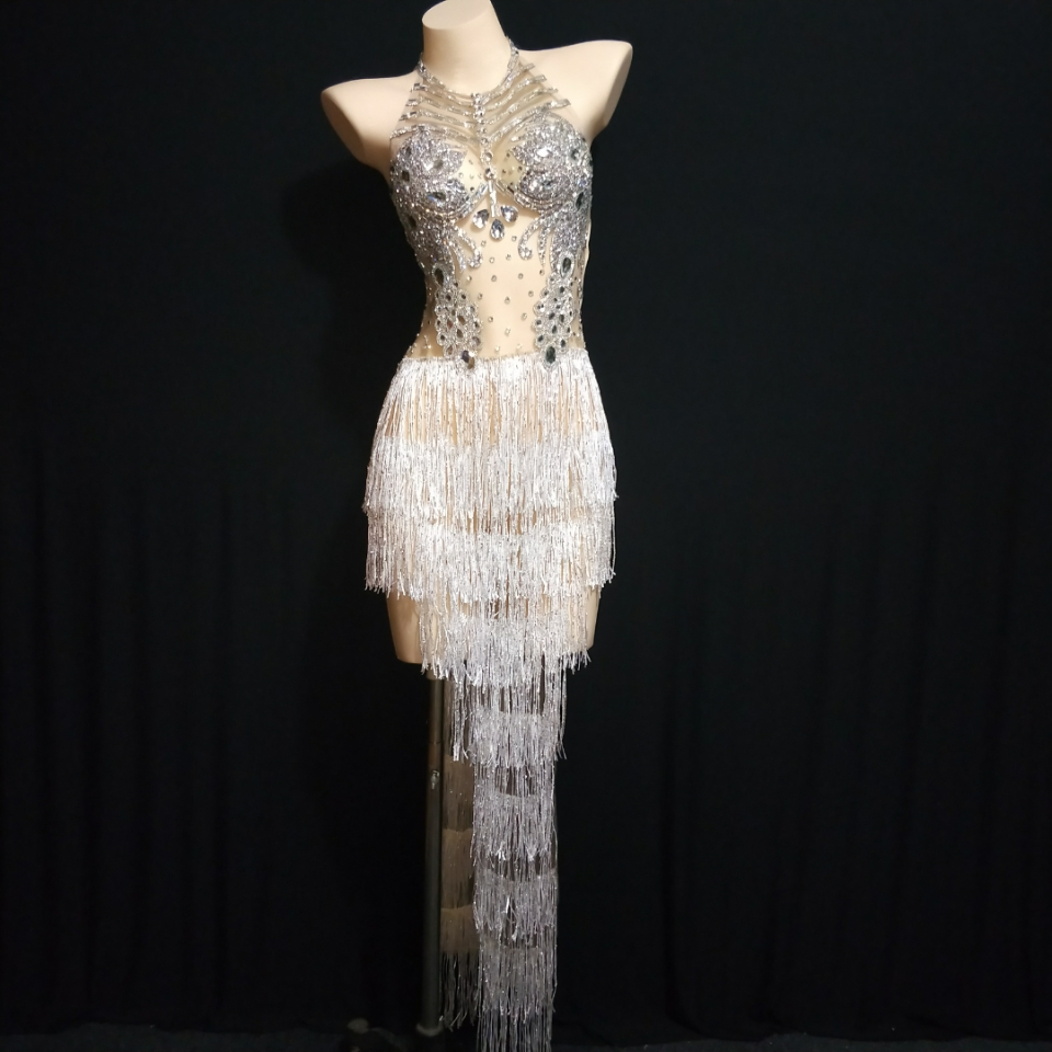 Silver White Rhinestones Fringes Dress Women Singer Crystals Outfit Stage Wear Birthday Celebrate Bar Nightclub Dance