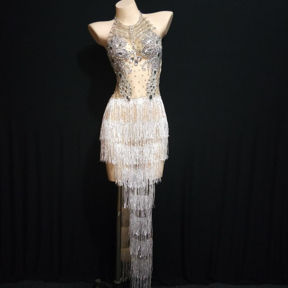 Silver White Rhinestones Fringes Dress Women Singer Crystals Outfit Stage Wear Birthday Celebrate Bar Nightclub Dance Wear
