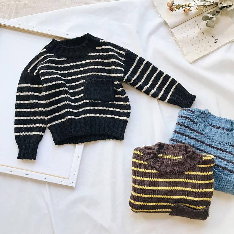 1-6 T 2018 Neue Kleidung Baby Junge Mädchen Strick Pullover Herbst Baby Kinder Kleidung Tragen Gestreiften Pullover Baby Winter Lose Pullover