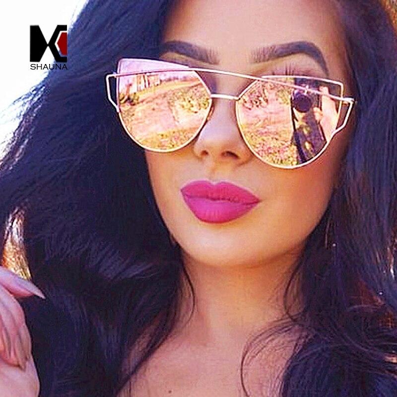 14 Colors Classic Women Flat Pink Mirror Lens Sunglasses Metal Frame Cateye Eyewear