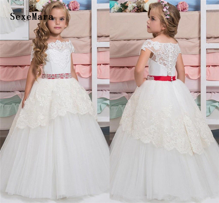 Elegant Ivory White Flower Girls Dress Long Girl Party Dress Puffy Tulle Lace Tiered Princess Birthday Clothing Christmas Gown gothic lace up tiered women s long dress