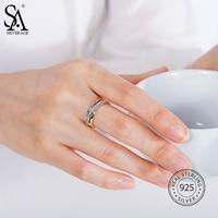 SA SILVERAGE Real 925 Sterling Zilver Party Fashion Rose Vergulde Ring voor Vrouwen Fijne Sieraden 2018 Nieuwe Collectie