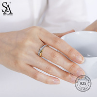 SA SILVERAGE Real 925 Sterling Silver Party Fashion Rose Gold Plated Ring For Women Fine Jewelry