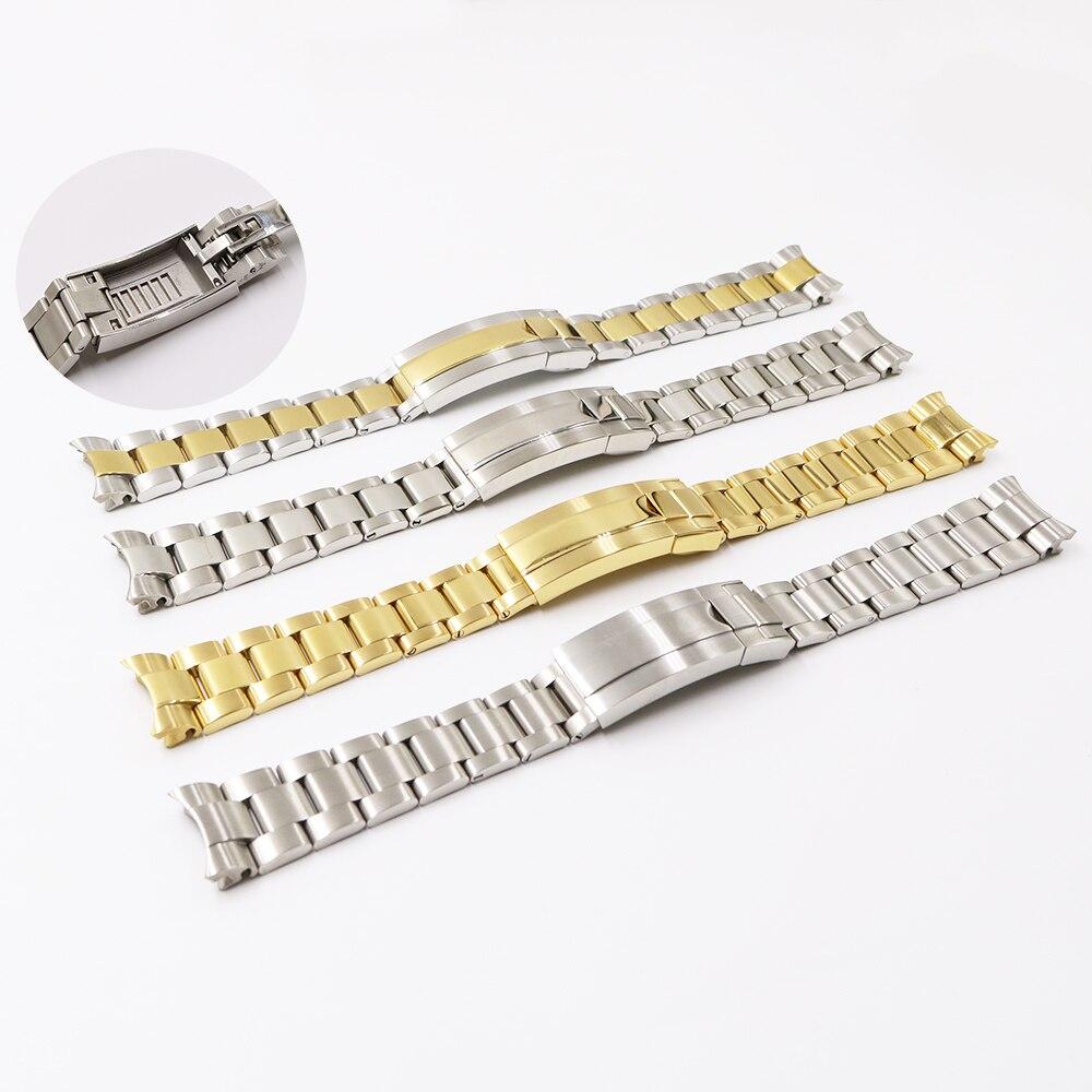 Carlywet 20mm Two Tone Goud Zilver Massief Gebogen End Schroef Link Glide Lock Sluiting Watch Band Armband Voor Submariner Gmt
