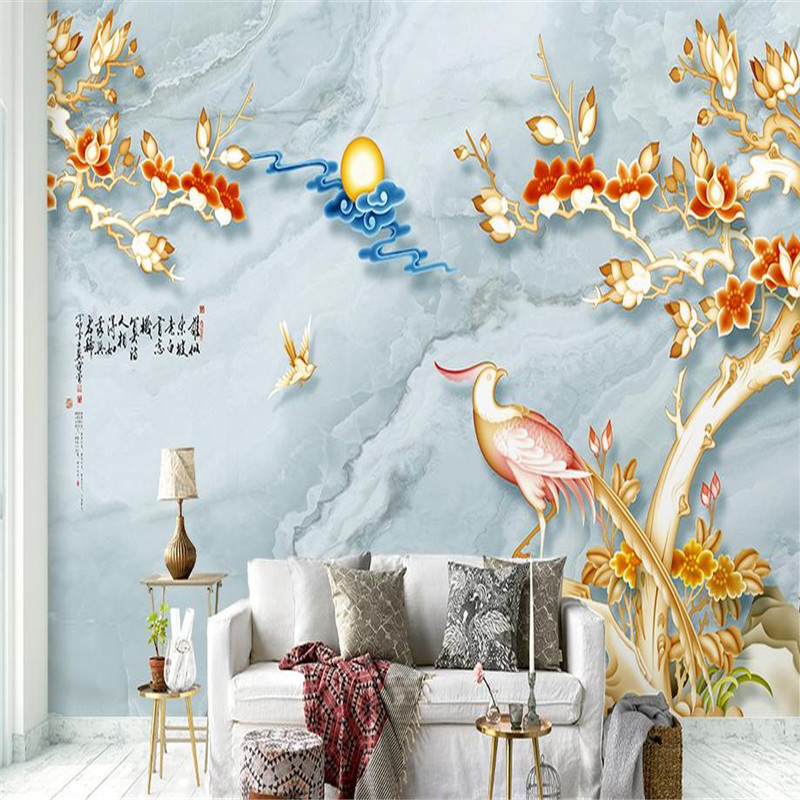 3d wallpaper custom stereoscopic modern living room bedroom background mural new Chinese painting carved birds flowers wallpaper book knowledge power channel creative 3d large mural wallpaper 3d bedroom living room tv backdrop painting wallpaper