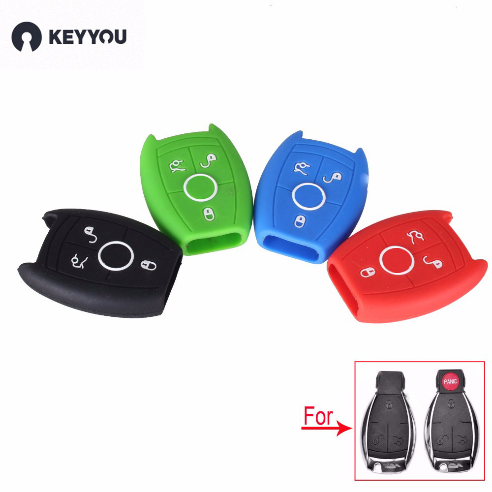 KEYYOU 10PCS/LOT 3 Buttons Silicone Car Key Cover Case For Mercedes Benz W203 W211 CLK C180 E200 AMG C E S C Protector