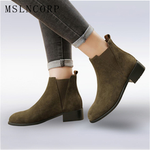 Plus Size 34-43 Spring Autumn Fashion Boots Women Chelsea Low Heels Shoes Lady Genuine Leather Boots Ladies Casual Martin Boots 2018 free shipping new spring and autumn low heeled leather round head woman boots women martin boots females casual shoes lx5