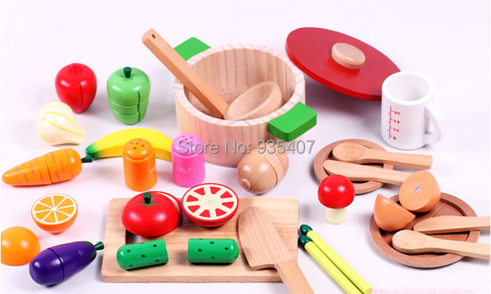 New wooden toy kitchen set Fruits and vegetables food baby