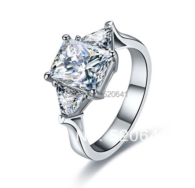 three stones jewelry triangle shape mount cushion cut sona propose diamond ring platinum plated with sterling - Cheap Diamond Wedding Rings