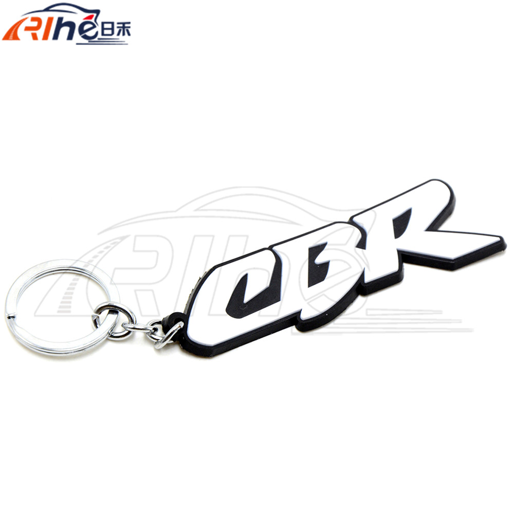 keychain For Honda CBR 600 919 954 1000 1100 RR white racing soft rubber motorbike