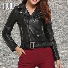 Black genuine leather jacket women sheepskin lamb motorcycle jacket with belt blouson moto chaqueta mujer jaqueta de couro LT017