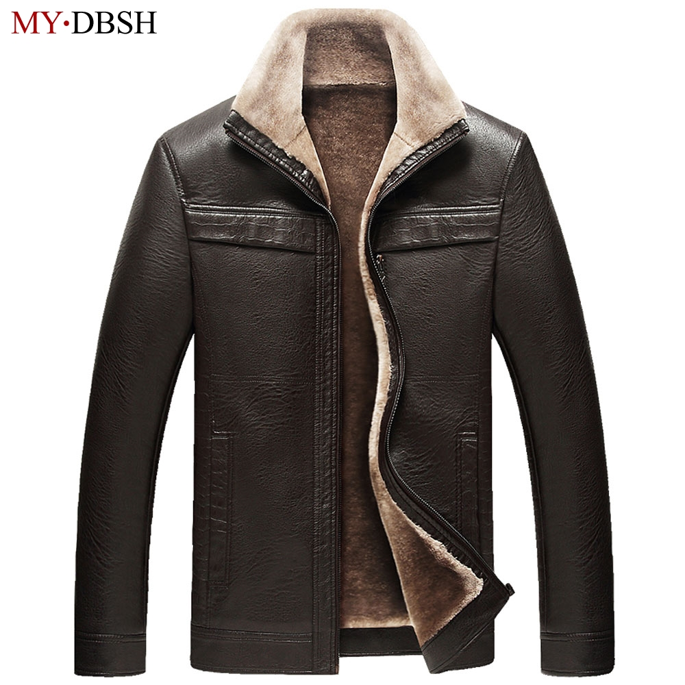 New Style Men Leather Jackets Winter Thicken Fleece PU Leather Jacket Casual Mens Coats Jaqueta De Couro Masculina Free Shipping new 2017 men winter black jacket parka warm coat with hood mens cotton padded jackets coats jaqueta masculina plus size nswt015