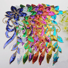 A pair Flower Sequined Appliqued Mirror Pair Floral Opera Dress Patches Iron On Headwear Sequin Embroidery Trims 3D DIY