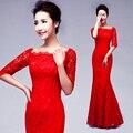 2017 primavera diseño largo rojo de novia formal escote de Encaje vendaje media manga del vestido de noche