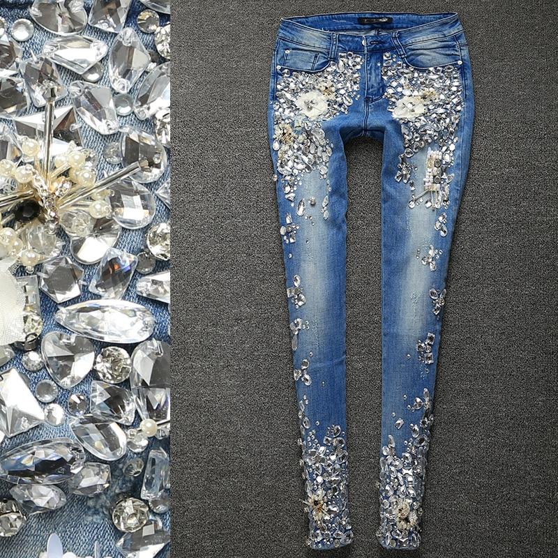 US $50.39 20% OFF|Luksusowe diament kieszeń dżinsy kwiaty spodnie kobiet 3D Stretch ołówek Denim spodnie damskie|denim women pants|jeans flowersdenim